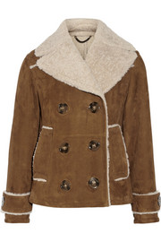 Suede and shearling coat