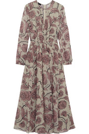 Burberry Prorsum Pleated floral-print silk dress