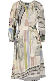 Burberry Prorsum Printed linen and silk-blend midi dress