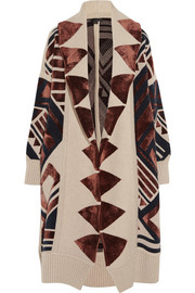 Intarsia knitted blanket coat