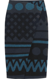 Burberry Prorsum Wrap-effect wool and cashmere-blend skirt