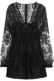 Burberry Prorsum Floral-embroidered tulle top