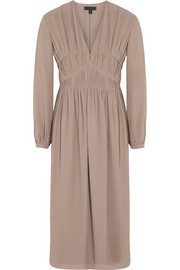 Burberry Prorsum Ruched silk-georgette midi dress