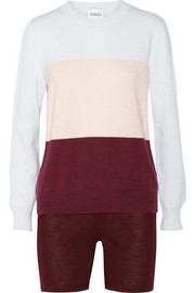 Madeleine Thompson Cosmo color-block cashmere sweater and shorts set