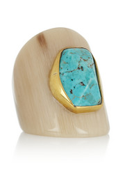 Ashley Pittman Mbaya horn and turquoise ring