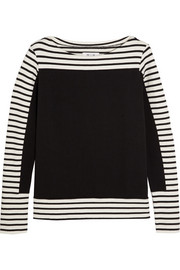 MiH Jeans The Breton denim-paneled striped cotton top