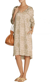 Baja East Hooded Ikat-print cady dress