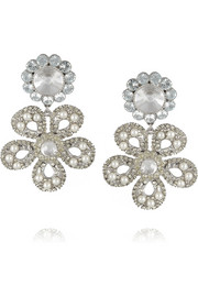 Miu Miu Silver-plated, Swarovski pearl and crystal clip earrings