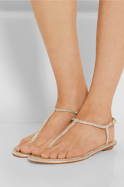 René Caovilla Crystal-embellished satin sandals