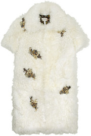 Erdem Anouk crystal-embellished shearling coat