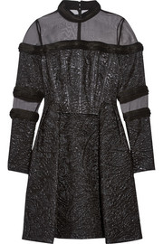 Erdem Meja organza-paneled jacquard mini dress