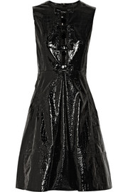 Erdem Elaine croc-effect patent-leather mini dress