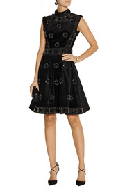 Erdem Justine embellished velvet, faille and jacquard mini dress