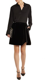 Erdem Roza asymmetric velvet mini skirt