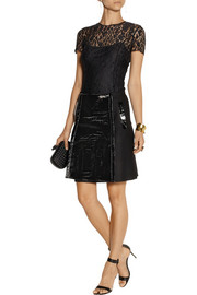 Erdem Arietta patent-leather and wool-blend wrap mini skirt