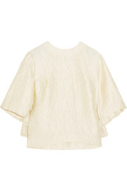 Erdem Fyllian pleated satin-cloqué top