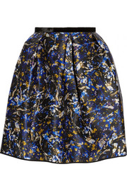 Erdem Levinia printed silk-gazar mini skirt