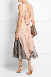 PHILOSOPHY Asymmetric fringed crepe and silk-chiffon top