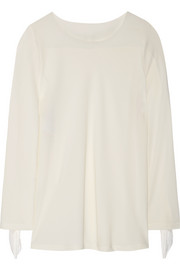 PHILOSOPHY Fringe and silk chiffon-trimmed crepe top
