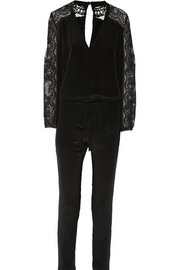 Lace-paneled silk crepe de chine jumpsuit