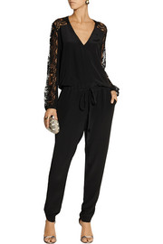Mason by Michelle Mason Lace-paneled silk crepe de chine jumpsuit