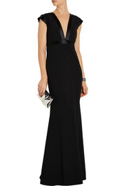 Mason by Michelle Mason Satin-trimmed jersey-paneled crepe gown