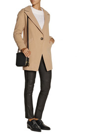 Mason by Michelle Mason Leather-trimmed wool-blend coat