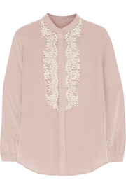 Mason by Michelle Mason Lace-paneled silk crepe de chine blouse