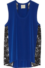 Mason by Michelle Mason Lace-paneled silk crepe de chine tank