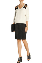 Mason by Michelle Mason Lace-paneled wool and cashmere-blend sweater