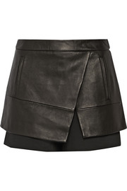 Tibi Leather and gabardine shorts