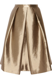 Tibi Halcyon metallic pleated taffeta skirt
