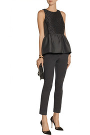 Tibi Worth embroidered cloqué peplum top