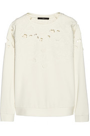 Tibi Floral-appliquéd cutout stretch-jersey sweatshirt