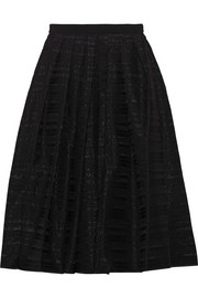Ribbon appliquéd organza midi skirt
