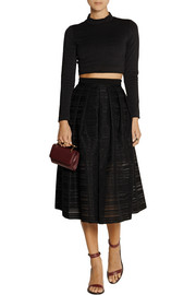 Tibi Ribbon appliquéd organza midi skirt
