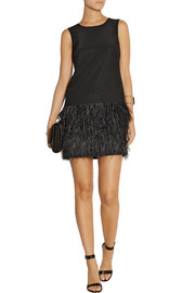 Tibi Cera Tuxedo feather-trimmed crepe de chine mini dress