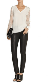 Tibi Silk crepe de chine and Chantilly lace top