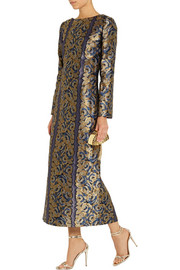 Suno Metallic floral-jacquard gown