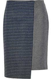 Suno Asymmetric wool-blend wrap-effect skirt