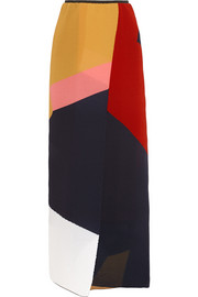 Debi color-block silk-blend georgette maxi skirt