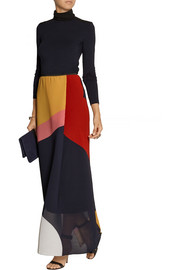 Issa Debi color-block silk-blend georgette maxi skirt