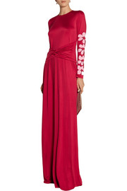 Issa Appliquéd silk-blend jersey maxi dress