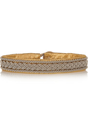 Maria Rudman Metallic embroidered leather bracelet