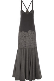 Paneled stretch-silk, lace and wool-blend gown
