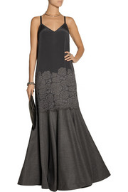 DKNY Paneled stretch-silk, lace and wool-blend gown