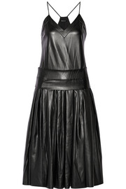 DKNY Drop-waist faux leather midi dress