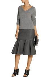 DKNY Fluted wool-blend felt skirt