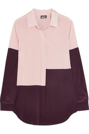 DKNY Color-block stretch-silk shirt
