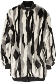 DKNY Oversized striped faux fur bomber jacket